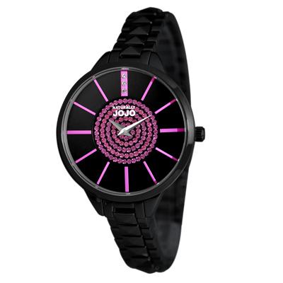 NATURALLY JOJO 璀璨時光晶鑽不鏽鋼腕錶-黑x桃紅/33mm