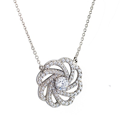 Crislu 大花瓣型鋯石銀項鍊