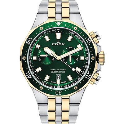 EDOX Delfin 水上冠軍專業200米防水計時碼錶-綠x雙色版/43mm