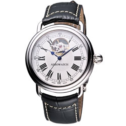 AEROWATCH 經典宙斯鏤空機械腕錶-白/39mm