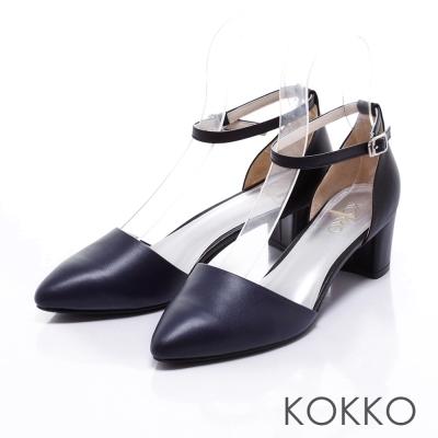 KOKKO經典真皮-法式優雅繫踝粗跟鞋-黑藍