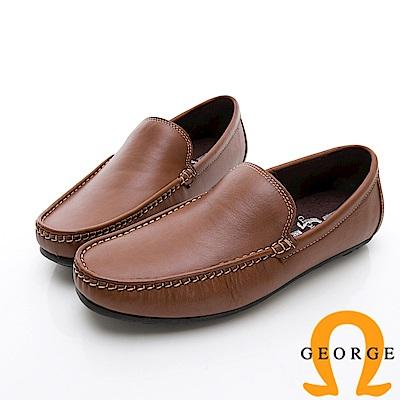GEORGE 喬治-舒適系列 經典素面樂福鞋休閒鞋-棕