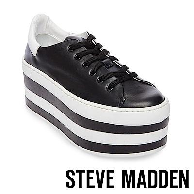 STEVE MADDEN-SOURCE 綁帶雙色厚底鞋-黑色