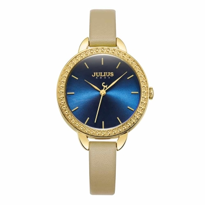JULIUS聚利時 率真魅力復刻皮錶帶腕錶-淺卡其/26mm