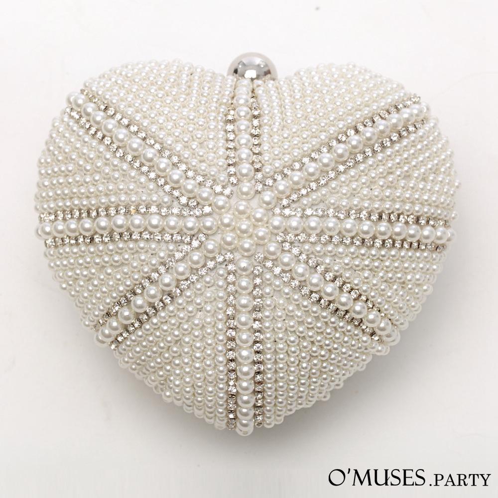法式心型珍珠晚宴包-OMUSES