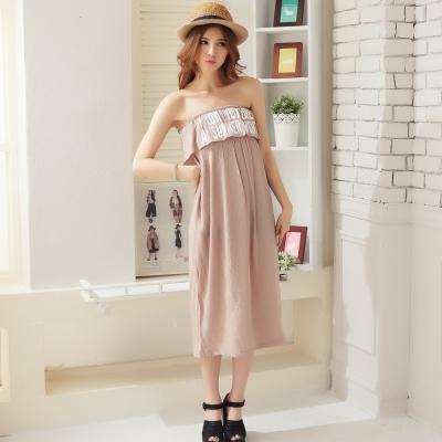 La Belleza英文字平口鬆緊棉麻長洋裝