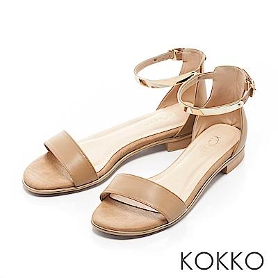 KOKKO-巴黎金屬繫踝一字帶平底涼鞋-知性棕