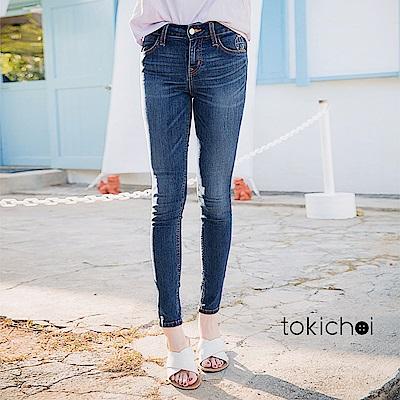 東京著衣 中藍刺繡牛仔褲-S.M.L(共一色)