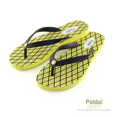 Paidal 夏威夷菱形格海灘拖鞋人字拖鞋-黃
