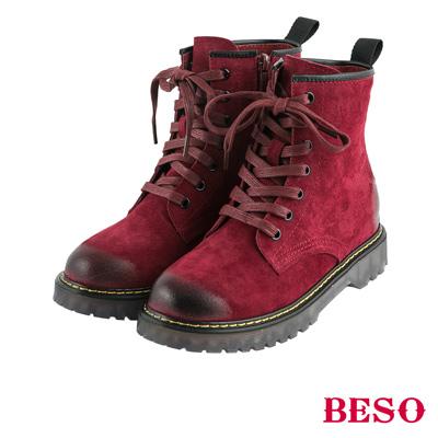 BESO帥氣搖滾 漸舊擦色經典馬汀綁帶靴~酒紅