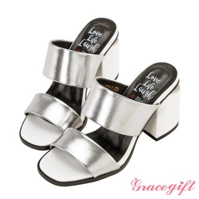 Grace gift X Kerina妞妞-雙寬帶金屬片粗跟涼鞋 銀