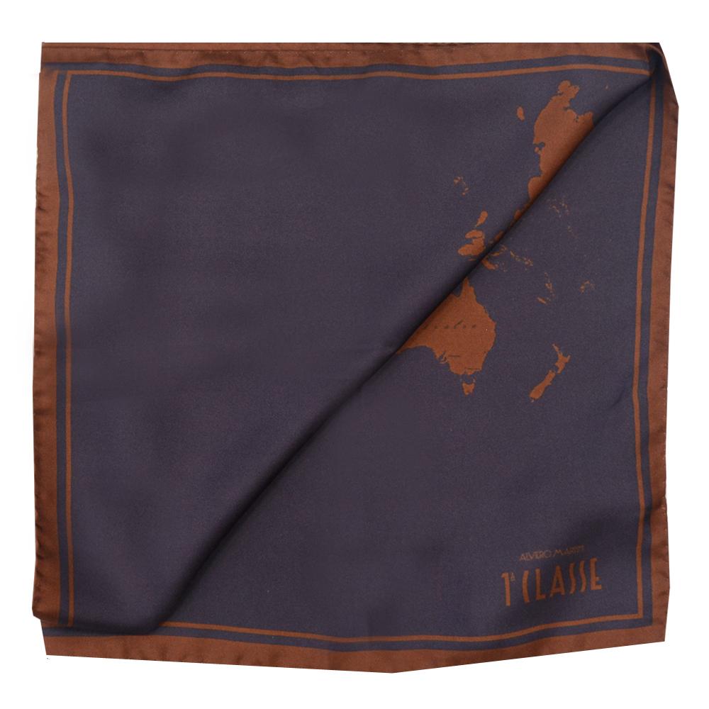 Alviero Martini 義大利地圖 經典地圖撞色絲巾(70X70) 咖啡