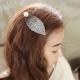梨花HaNA  韓國珍珠點綴蕾絲葉片髮夾