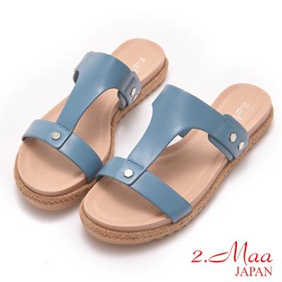 2-Maa-麻編平跟涼拖鞋-藍
