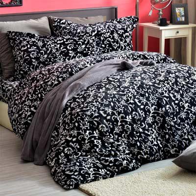 AmoreCasa 典藏花藝 頂級法蘭絨雙人舖棉床包被套組