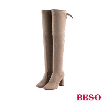 BESO 性感名模 後綁帶蝴蝶結過膝高跟長靴~灰