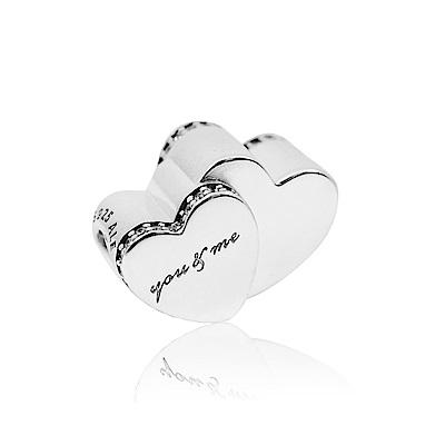 Pandora 潘朵拉 左右雙心鋯石鑲邊造型 純銀墜飾 串珠