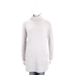 Max Mara-'S Max Mara 淺灰色立領長版羊毛針織上衣(50%WOOL)