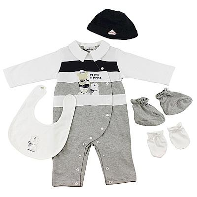 愛的世界 pappa&ciccia 純棉長袖連身褲5件組禮盒/1歲