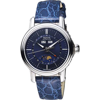epos 月相盈虧 Day-Date 經典機械女錶-藍色皮帶錶/34mm