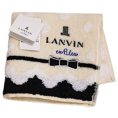 LANVIN en bleu 蝴蝶結品牌LOGO刺繡小方巾(米黃系)