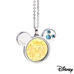 Disney迪士尼金飾 天生一對黃金/白鋼項鍊-粉藍
