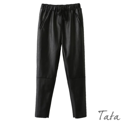 鬆緊腰繫帶合成皮褲 TATA