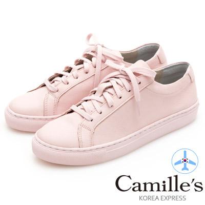 Camille's 韓國空運-正韓製-牛皮經典綁帶休閒鞋-淺粉