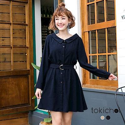 東京著衣 氣質女孩寬領腰帶修身洋裝-S.M(共二色)