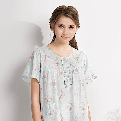 羅絲美睡衣-晨曦花園短袖洋裝睡衣(湖水藍)