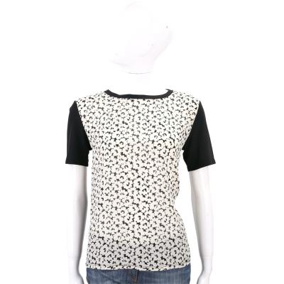 Max Mara-WEEKEND 印花雪紡拼接短袖棉質T恤