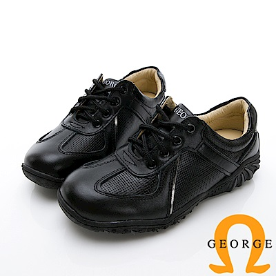 GEORGE 喬治-異材質雙拼綁帶休閒鞋-黑