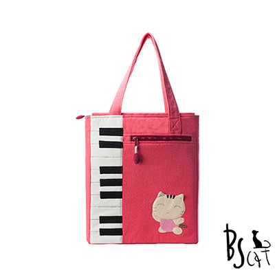 ABS貝斯貓 可愛貓咪拼布 A4可入肩背包 提袋 (粉) 88-200