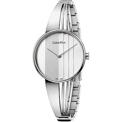 Calvin Klein CK Drift 輕盈條紋手環錶-銀/ 34 mm
