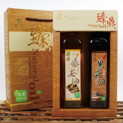 【蔥媽媽嚴選】頂級冷壓苦茶油x 1 +冷壓黑芝麻油x 1 ( 500 ml/瓶/禮盒)