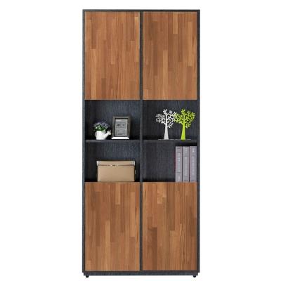 AT HOME-布拉格2.7尺鐵刀柚木四長門中空書櫃