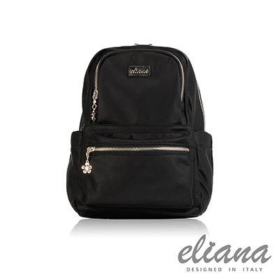 eliana - Gina系列輕量雙口袋後背包 - 摩登黑