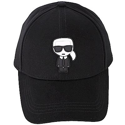 KARL LAGERFELD K/IKONIK Q版老佛爺橡膠補丁可調尺寸棒球帽(黑色)