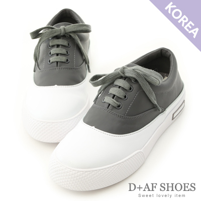 D+AF 活力宣言.真皮拼接撞色綁帶休閒鞋*灰