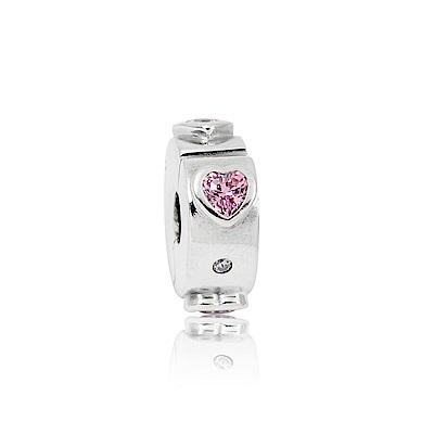Pandora 潘朵拉 粉心鋯石夾釦式扁珠 純銀墜飾 串珠