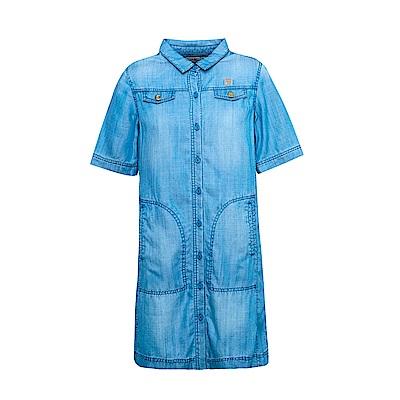 FILA 女5分袖牛仔洋裝-牛仔藍 5DRS-1718-BU