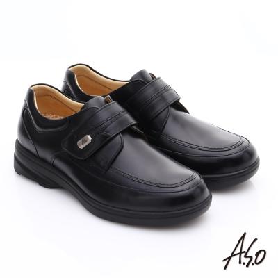 A.S.O 超能耐 帥氣魔鬼氈真皮奈米休閒皮鞋 黑色
