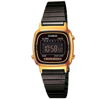 CASIO 經典復古風時尚數位錶(LA-670WEGB-1B)-黑面X金框/30.3mm
