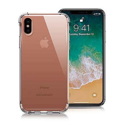Xmart for iPhone X 清透高質感TPU+PC手機保護殼-白