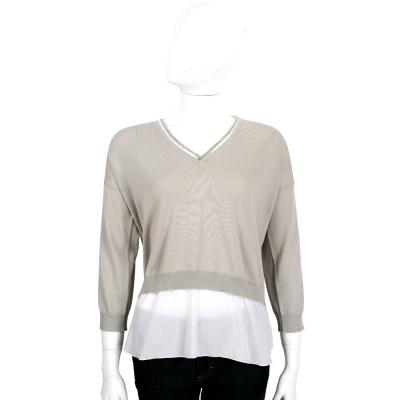 FABIANA FILIPPI 灰色雙材質拼接V領七分袖針織上衣