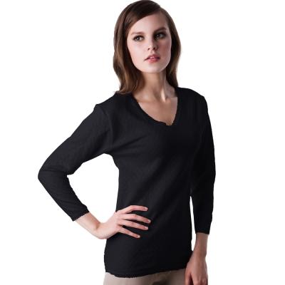 【LADY】柔情棉棉系列 三層暖棉_V領保暖衛生衣(黑色)