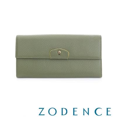 ZODENCE 袖釦系列荔枝牛皮豆點LOGO設計長夾  橄欖綠