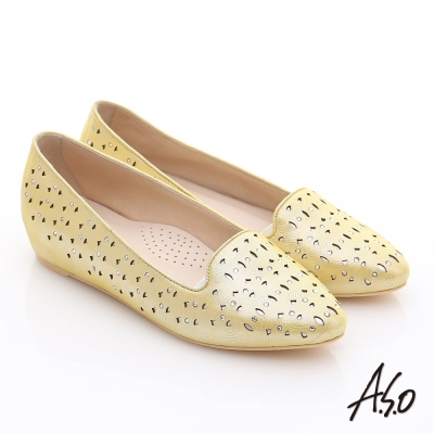 A.S.O 玩美涼夏 金屬感羊皮內增高平底鞋 黃