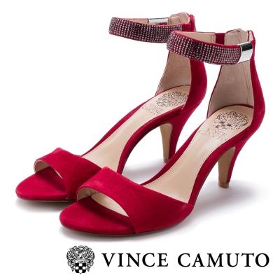 VINCECAMUTO水鑽繞踝質感麂皮涼鞋-紅色