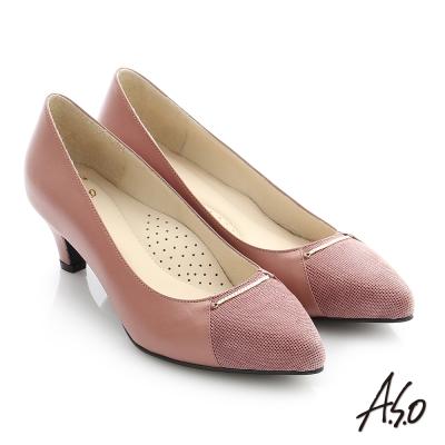 A.S.O 個性美型 全真皮細金屬條飾高跟鞋 粉紅色